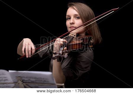 Proud Violinist Woman With Her Violin And Bow