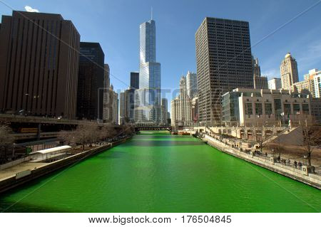 Saint Patrick's Day Dying of the Chicago River Green Clear Blue Sky Trump Tower Michigan Avenue Bridge