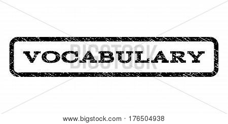Vocabulary watermark stamp. Text tag inside rounded rectangle frame with grunge design style. Rubber seal stamp with unclean texture. Vector black ink imprint on a white background.