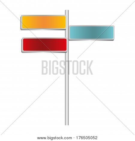 colorful multidirectional metallic plaque sign post set vector illustration