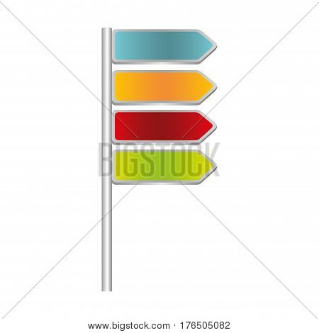 colorful directional metallic plaque road sign vector illustration