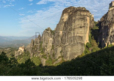 Panorama of Orthodox Monastery of St. Nicholas Anapausas in Meteora, Thessaly, Greece