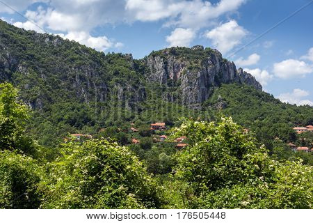 Panorama of Vlasi Village and rock formation of Jerma River Gorge, Dimitrovgrad Region, Serbia