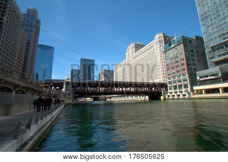 Chicago River dyed green for Saint Patrick's Day Wells Street Bridge