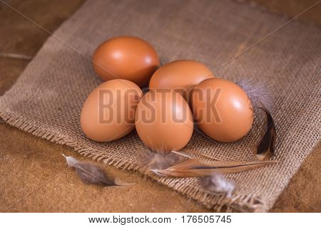 Eggs from farm to the market for raw material to cooking by chef in restaurant
