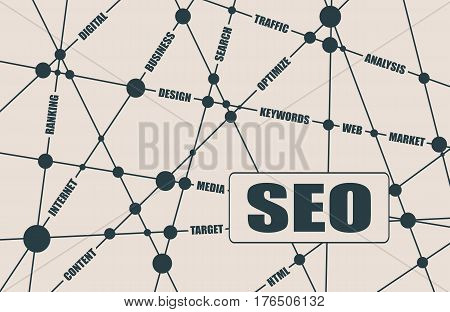 Search engine optimization word cloud business concept. SEO text. Molecule And Communication Background. Connected lines with dots. Vector brochure, report or flyer design template.