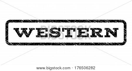 Western watermark stamp. Text caption inside rounded rectangle with grunge design style. Rubber seal stamp with dust texture. Vector black ink imprint on a white background.