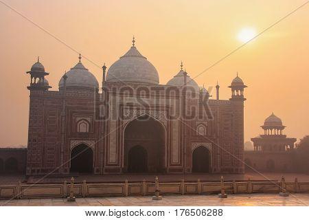 View Of Jawab At Sunrise In Taj Mahal Complex, Agra, Uttar Pradesh, India