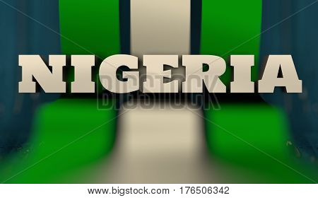 Nigeria flag design concept. Flag made from curved stripes. Country name. Image relative to travel and politic themes. 3D rendering
