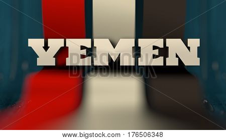Yemen flag design concept. Flag made from curved stripes. Country name. Image relative to travel and politic themes. 3D rendering