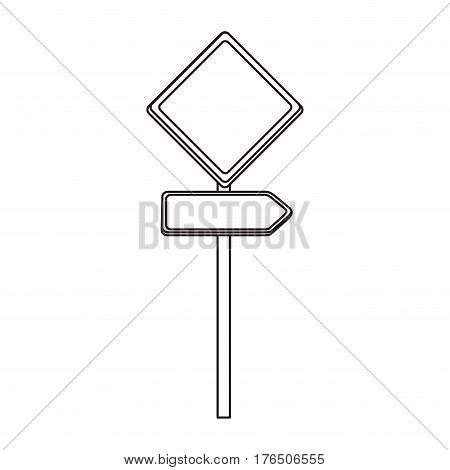 silhouette metallic diamond shape traffic sign with direction board set vector illustration