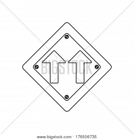 silhouette metallic diamond shape frame same direction arrow road traffic sign vector illustration