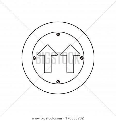 silhouette metallic circular frame same direction arrow road traffic sign vector illustration