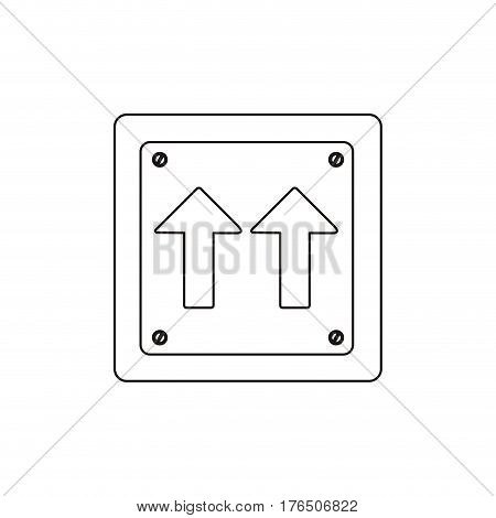 silhouette metallic square frame same direction arrow road traffic sign vector illustration