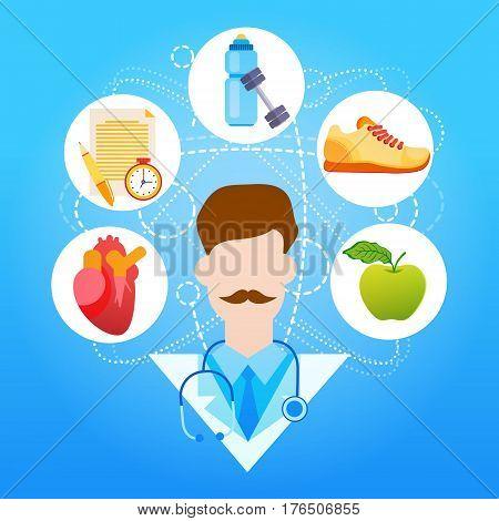 Medical Doctor Healthy Lifestyle Vitamins Sport Flat Vector Illustration