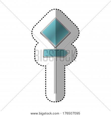 sticker metallic blue diamond shape traffic sign with direction board set vector illustration