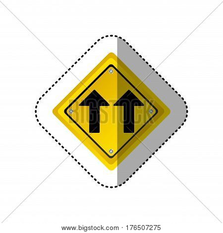sticker metallic realistic yellow diamond shape frame same direction arrow road traffic sign vector illustration