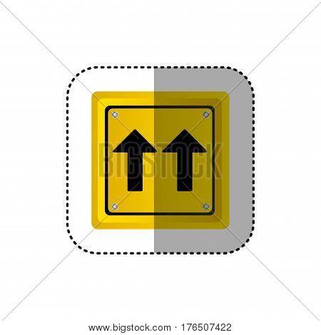 sticker metallic realistic yellow square shape frame same direction arrow road traffic sign vector illustration