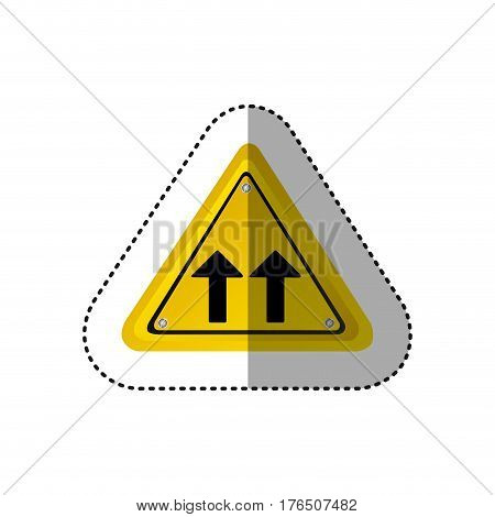 sticker metallic realistic yellow triangle shape frame same direction arrow road traffic sign vector illustration