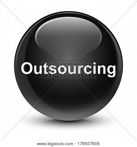 Outsourcing Glassy Black Round Button