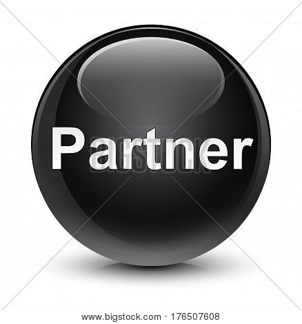 Partner Glassy Black Round Button