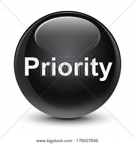 Priority Glassy Black Round Button