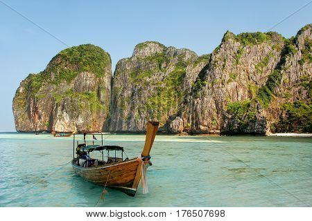 Longtail Boat Anchored At Maya Bay On Phi Phi Leh Island, Krabi Province, Thailand