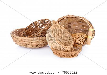 bamboo and rattan basket products on white background