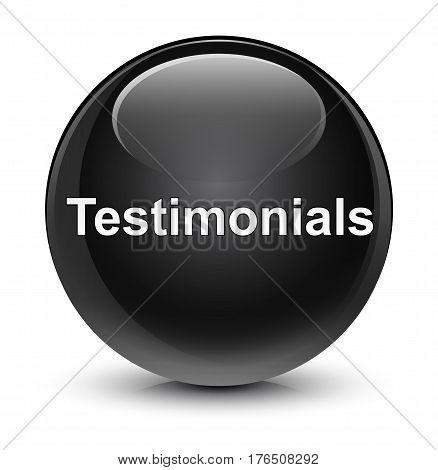 Testimonials Glassy Black Round Button