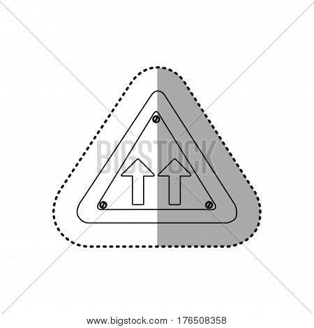 sticker silhouette metallic triangle frame same direction arrow road traffic sign vector illustration