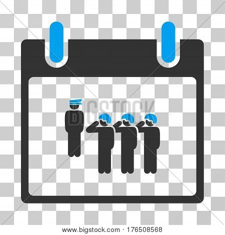 Army Squad Calendar Day icon. Vector illustration style is flat iconic bicolor symbol, blue and gray colors, transparent background. Designed for web and software interfaces.