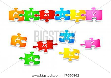 Colorful family puzzle solved and in parts