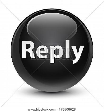 Reply Glassy Black Round Button