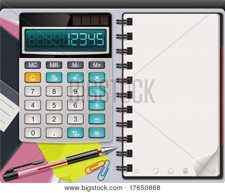 Vector calculator with notepad template