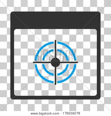 Bullseye Calendar Page icon. Vector illustration style is flat iconic bicolor symbol, blue and gray colors, transparent background. Designed for web and software interfaces.