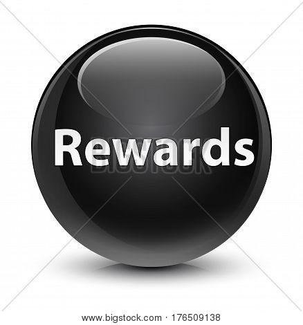 Rewards Glassy Black Round Button