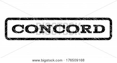 Concord watermark stamp. Text tag inside rounded rectangle with grunge design style. Rubber seal stamp with dust texture. Vector black ink imprint on a white background.