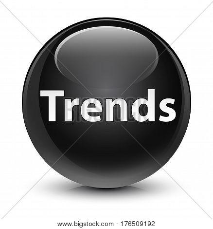 Trends Glassy Black Round Button