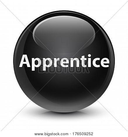 Apprentice Glassy Black Round Button
