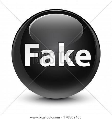 Fake Glassy Black Round Button