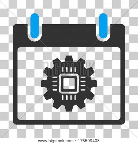 Chip Gear Calendar Day icon. Vector illustration style is flat iconic bicolor symbol, blue and gray colors, transparent background. Designed for web and software interfaces.