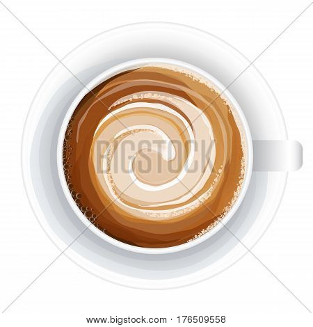 Top view of a cup of coffee, isolate on white vector watercolor style illustration