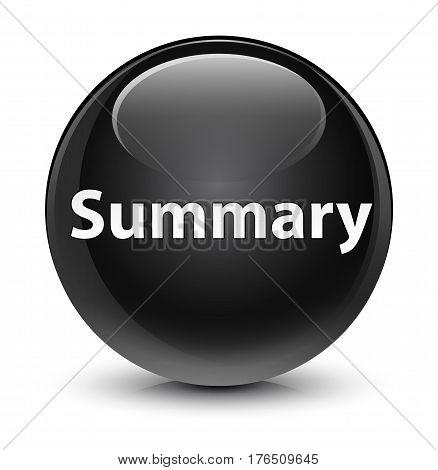 Summary Glassy Black Round Button