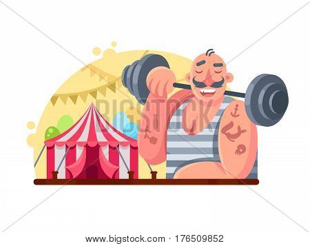 Funny circus weight lifter. Man with barbell on shoulder. Vector illustration