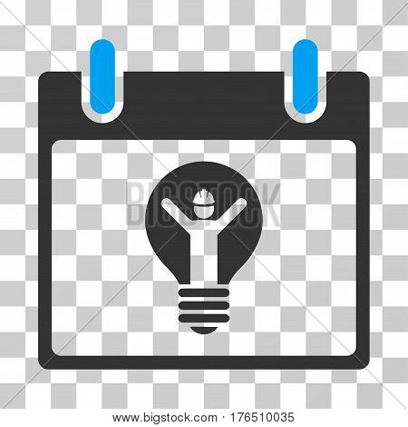 Electrician Calendar Day icon. Vector illustration style is flat iconic bicolor symbol, blue and gray colors, transparent background. Designed for web and software interfaces.