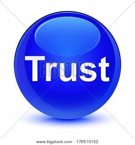 Trust Glassy Blue Round Button