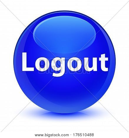 Logout Glassy Blue Round Button