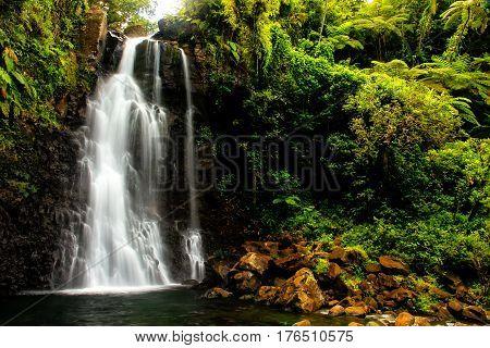 Middle Tavoro Waterfalls In Bouma National Heritage Park, Taveuni Island, Fiji