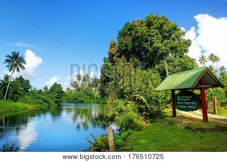 Park Board By The River In Bouma National Heritage Park On Taveuni Island, Fiji