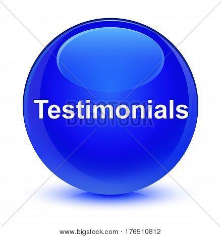 Testimonials Glassy Blue Round Button